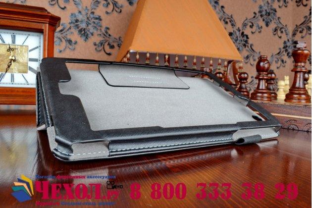 """Фирменный чехол бизнес класса для Acer Iconia One 8 B1-810-19LV с визитницей и держателем для руки черный натуральная кожа """"Prestige"""" Италия"""