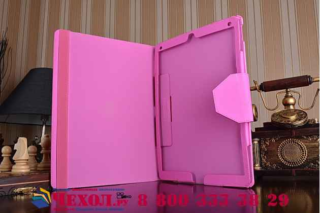 """Фирменный чехол бизнес класса для  iPad Pro 12.9"""" с визитницей и держателем для руки розовый """"Prestige"""" Италия"""