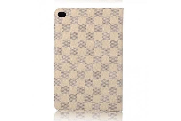 """Фирменный чехол-книжка из кожи с мульти-подставкой и застёжкой для iPad Pro 9.7"""" белый в клетку"""