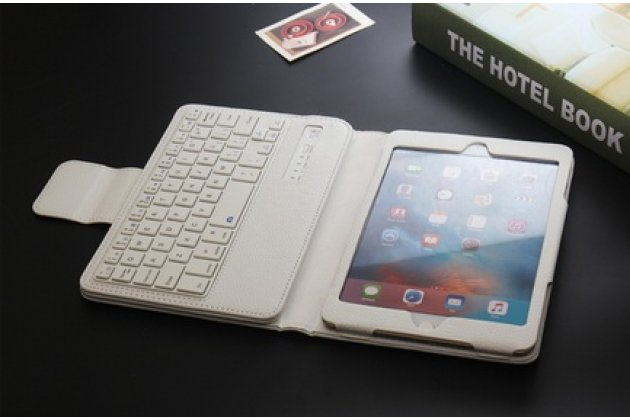 Фирменный чехол со съёмной Bluetooth-клавиатурой для ipad Mini 4 белый кожаный + гарантия