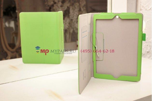 """Чехол-сумка для iPad Air 1 с визитницей и держателем для руки зеленый натуральная кожа """"Prestige"""" Италия"""