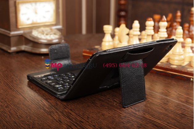 Фирменный чехол со съёмной Bluetooth-клавиатурой для Apple iPad Mini 2 with Retina display/ iPad mini 3 черный кожаный + гарантия