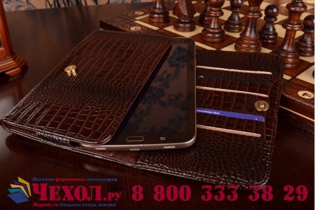 Фирменный роскошный эксклюзивный чехол-клатч/портмоне/сумочка/кошелек из лаковой кожи крокодила для планшетов iPad Mini 2 new Retina. Только в нашем магазине. Количество ограничено.