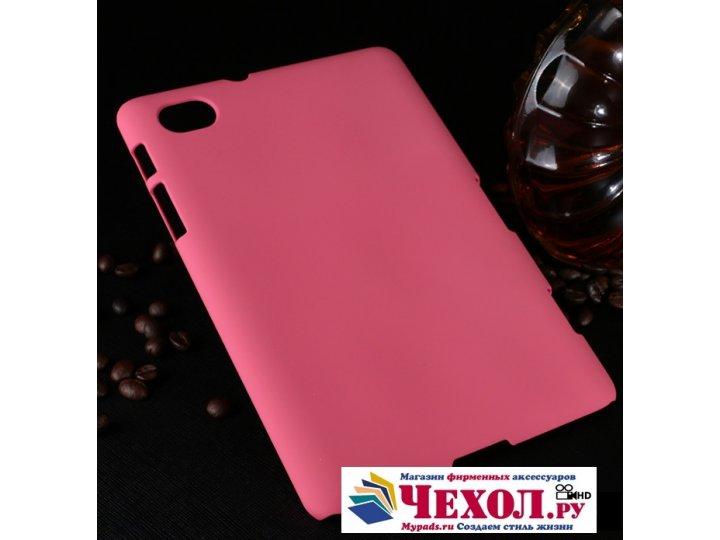 Фирменная задняя панель-крышка-накладка из тончайшего и прочного пластика для Samsung 7.7 P6800 розовая..