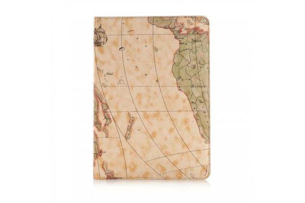 "Чехол-футляр для Айпад Эйр 2 ""тематика карта мира"" кожаный коричневый"