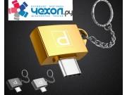 Стильный металлический USB-переходник / OTG-кабель на все виды смартфонов для подключения к флеш-накопителям и другим внешним устройствам с дизайнерским кольцом для крепления в связку ключей + гарантия