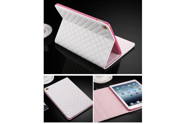 Стёганная кожа в ромбик с узором чехол-обложка для iPad Air 2 цвет серебристый кожаный