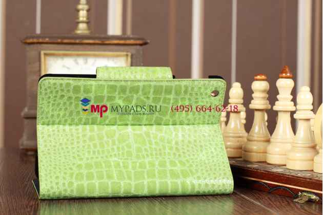 Лаковая блестящая кожа под крокодила чехол-обложка для iPad Mini зеленый