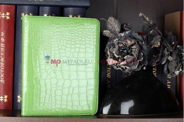Фирменный чехол-обложка для iPad2/new iPad 3/iPad 4 роторный поворотный оборотный кожа крокодила зеленый